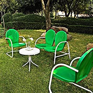 Crosley '4-Piece Griffith Metal Outdoor Conversation Seating Set', Grasshopper Greeen/White Finish
