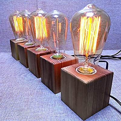 Hile Lighting KU300078 Lighting Vintage Industrial Table Light Edison Bulb Wooden Desk Lamp(Wood)