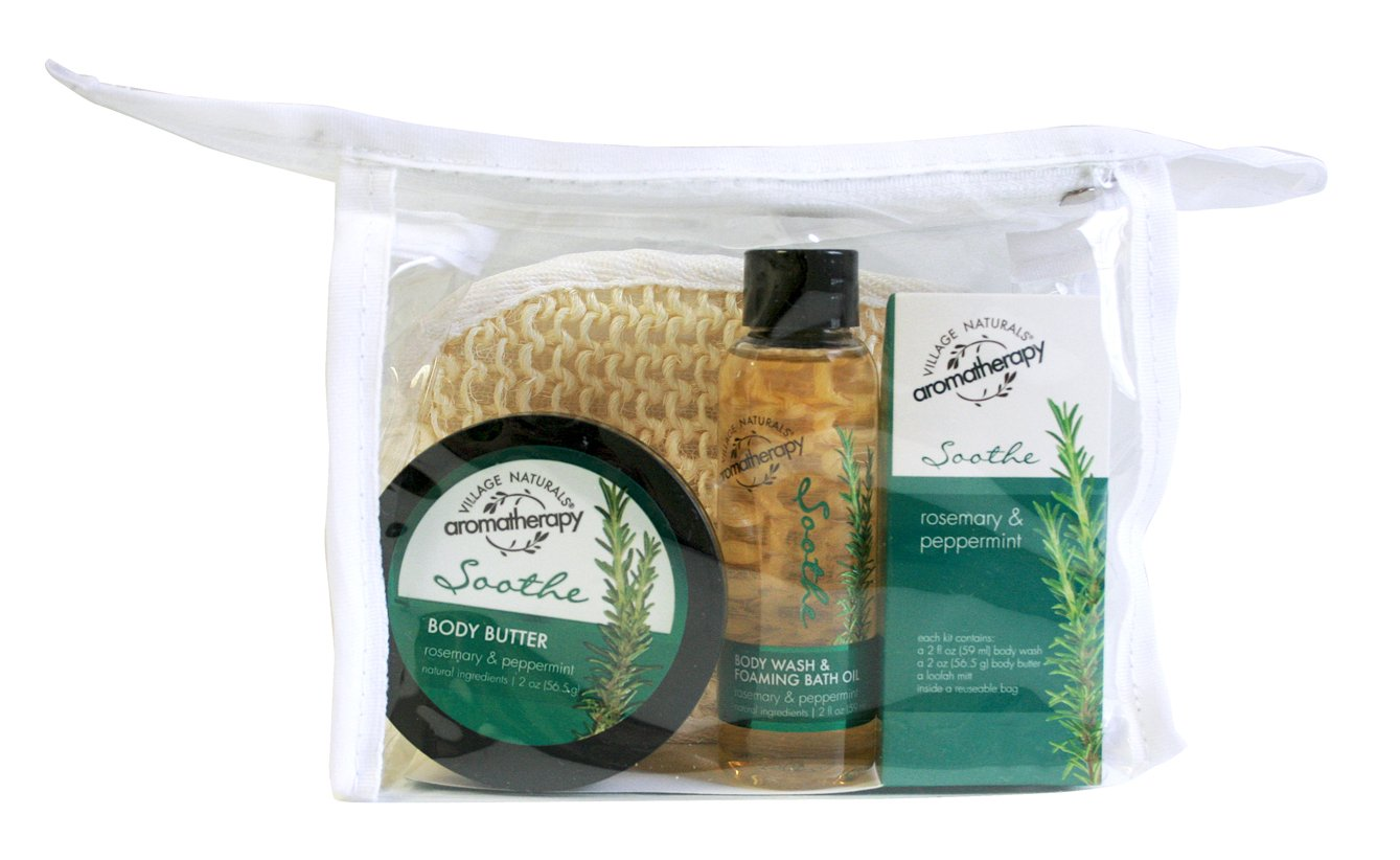 Village Naturals Aromatherapy Soothe Rosemary & Peppermint Trial Kit