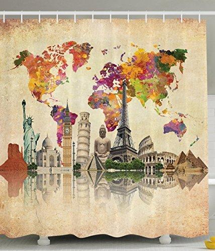 bbfhome orlo pesi tessuto in poliestere bagno doccia tenda con ganci Vecchia Cultura grande mappa del mondo Vintage mappa Stampa, Poliestere, Multicolor, 180 ( L ) x 200 (H) CM