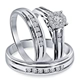 Silvernshine Jewels 1.30 Ct Diamond 18k Solid White Gold Fn .925 Engagement Ring Wedding Trio Set (Color: White)