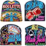 Beistle 50073 4-Pack Neon Casino Cutouts, 16-Inch
