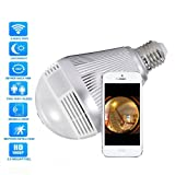 Deftun 1080P HD 360° Panoramic Wifi Wireless Security Bulb Fisheye Network IP Camera