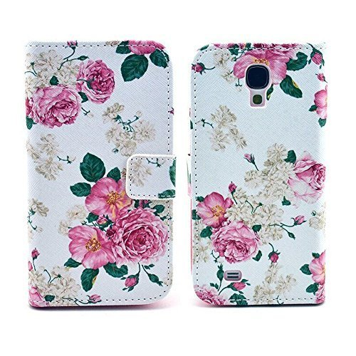 Galaxy S4 Case,U-Gem star Deluxe PU Leather Folio Wallet Case Cover for Samsung Galaxy S4 i9500,with SIM Card Adapter Kit+Screen Protector+Black Stylus (White Flowers) by U-Gem star [並行輸入品]