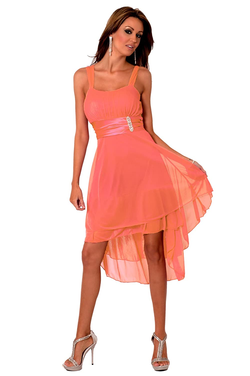 h1376 coral sleeveless sheer satin knee length cocktail