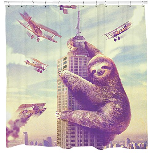 Sharp Shirter Slothzilla Shower Curtains, 70.8