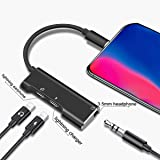 KPAO 3-in-1 Adapter Splitter Charger Compatible with Phone 8 Adapter Headphone Splitter for Headphone/Earphone Phone 8 Adapter Cables Fast Charge Splitter for Phone 8/8 Plus/ 7/7 Plus/X (Black) (Color: black 1, Tamaño: 3 in 1)