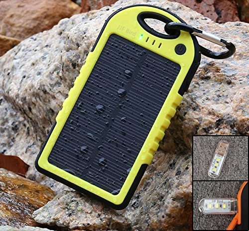 JJF Bird Portable 12000 mAh Waterproof Solar Panel Charger with Dual USB Port (Yellow)