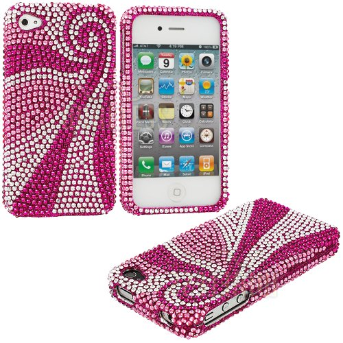 Mylife Pink + Silver Swirls - Rhinestone Series (2 Piece Snap On) Hardshell Plates Case For The Iphone 4/4S (4G) 4Th Generation Touch Phone (Clip Fitted Front And Back Solid Cover Case + Rubberized Tough Armor Skin)