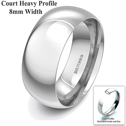 Xzara Jewellery - 18ct White 8mm Heavy Court Profile Hallmarked Ladies/Gents 14.7 Grams Wedding Ring Band