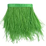 Sowder Ostrich Feathers Trims Fringe with Satin Ribbon Tape Dress Sewing Crafts Costumes Decoration Pack of 2 Yards(Lime Green) (Color: lime green)