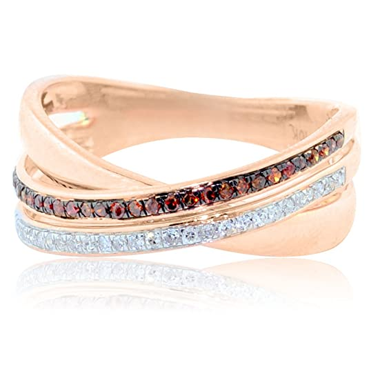 Midwest Jewellery Women's Criss Cross Ring Cognac And White Diamonds Fashon Ring 10K Rose Gold 6.5Mm Wide 1/5Cttw( 0.2Cttw)