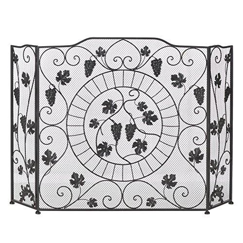 VINEYARD ESTATE FIREPLACE SCREEN Curvy Grape Leaf Design (Fireplace Screen Leaves compare prices)