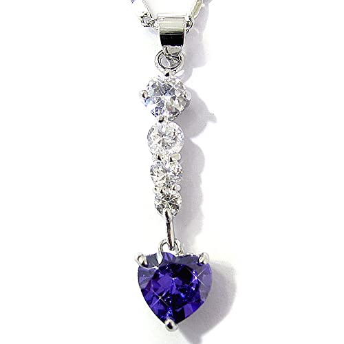 Amethyst Color CZ Heart Silver Tone Pendant with 18Necklace