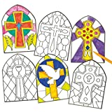 Stained Glass Effect Cross Window Decorations (Pack of 12)