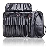 12pc Studio Pro Makeup Make Up Cosmetic Brush Set Kit w/ Leather Case - For Eye Shadow, Blush, Concealer, Etc (Black)