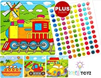 INTELLITOYZ Set of 4: 9 Piece Colorful Wooden Educational Puzzles with BONUS set of stickers. Includes Train, Tractor, Car and Ship from INTELLITOYZ