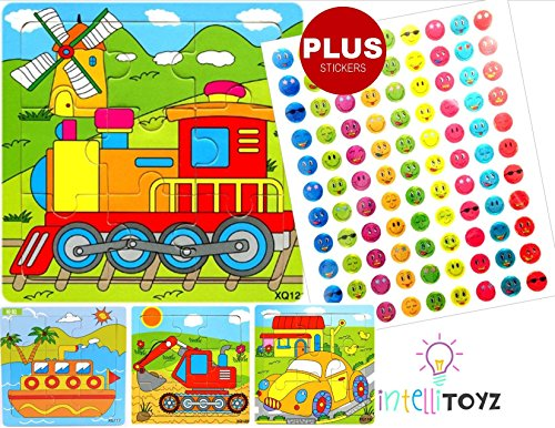 INTELLITOYZ-Set-of-4-9-Piece-Colorful-Wooden-Educational-Puzzles-with-BONUS-set-of-stickers-Includes-Train-Tractor-Car-and-Ship