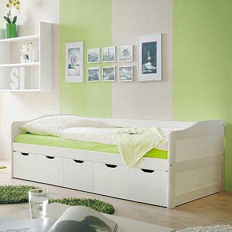 Bett in Weiß Stauraum Pharao24