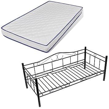 vidaXL 90 x 200 cm Bett Metallbett Bettgestell Schlafzimmerbett + Matratze Schwarz