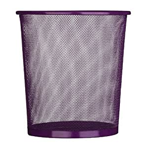 Large Colourful Metal Mesh Waste Paper Basket Office Bedroom Rubbish Dust Bin PURPLE BIN