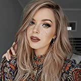 netgo Ash Blonde Ombre Wig Long Wavy Ombre Wigs Dark Roots Side Part Natural Looking Synthetic Hair Full Wigs for Women None Lace Wig (Color: Ash Blonde)