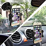 2-in-1 Mobile Phone Car Mount, Asscom� Cell Phone Car Mount Holder, Cradle - Universal Fit - Secure Cell Phone/GPS to Windshield Dashboard Car Mount Holder and Car Air Vent in Vehicle holder - Installs in Seconds - Padded, Adjustable Grips for Safety and Security - Hands Down the Best Mount You'll Own! - Fits Iphone 6, 6plus, 5, 5s, 5c, 4, 4s, Android Samsung Galaxy S5, S4, S3, Note 2/3/4 and All Other Smartphones- 1 Year Warranty Included P/N:158