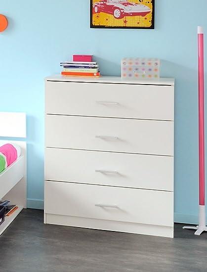 Kommode Inaco weiß 4x Schubkasten 77x100x40 cmSchubkastenkommode Sideboard Jugendzimmer Schlafzimmer