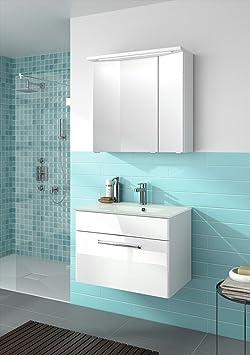 Pelipal Trenino Tino 740–Set di mobili da bagno, 74cm/Vetro lavabo/armadio/armadietto con specchio