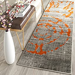 Safavieh Porcello Collection PRL7735F Light Grey and Orange Runner, 2 feet 4 inches by 6 feet 7 inches (2\'4\