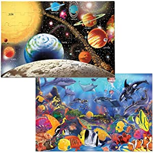 Melissa & Doug Floor Puzzle Bundle (Solar / Underwater)