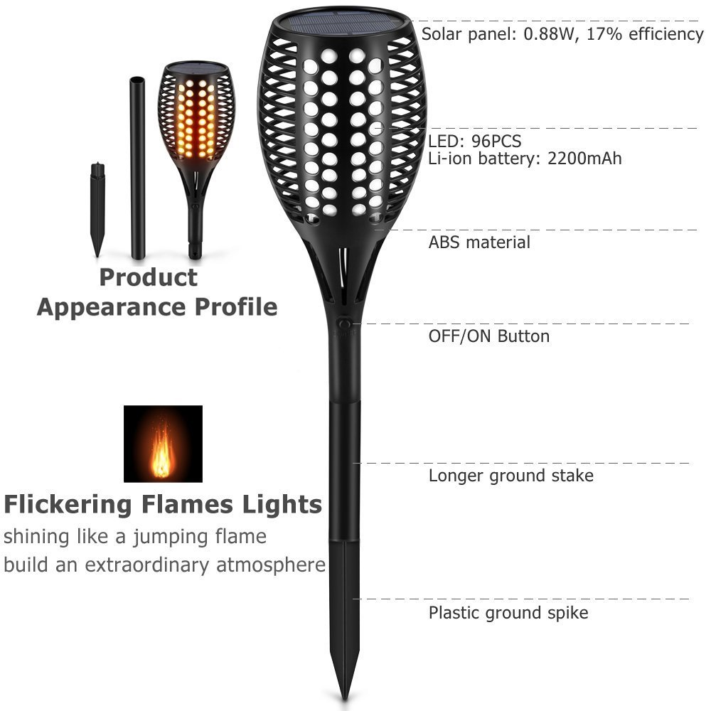 Solar Tiki Light By Kshioe,96LED Waterproof Flickering Flames Torches Lights Outdoor Landscape Decoration Lighting Dusk to Dawn Auto On/Off Security Path Light for Garden Patio Deck Yard Driveway (4)