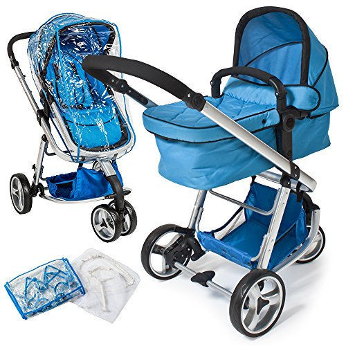 TecTake® 3 in 1 Kinderwagen Kombikinderwagen Buggy Babyjogger Reisebuggy Sportwagen Kids blau