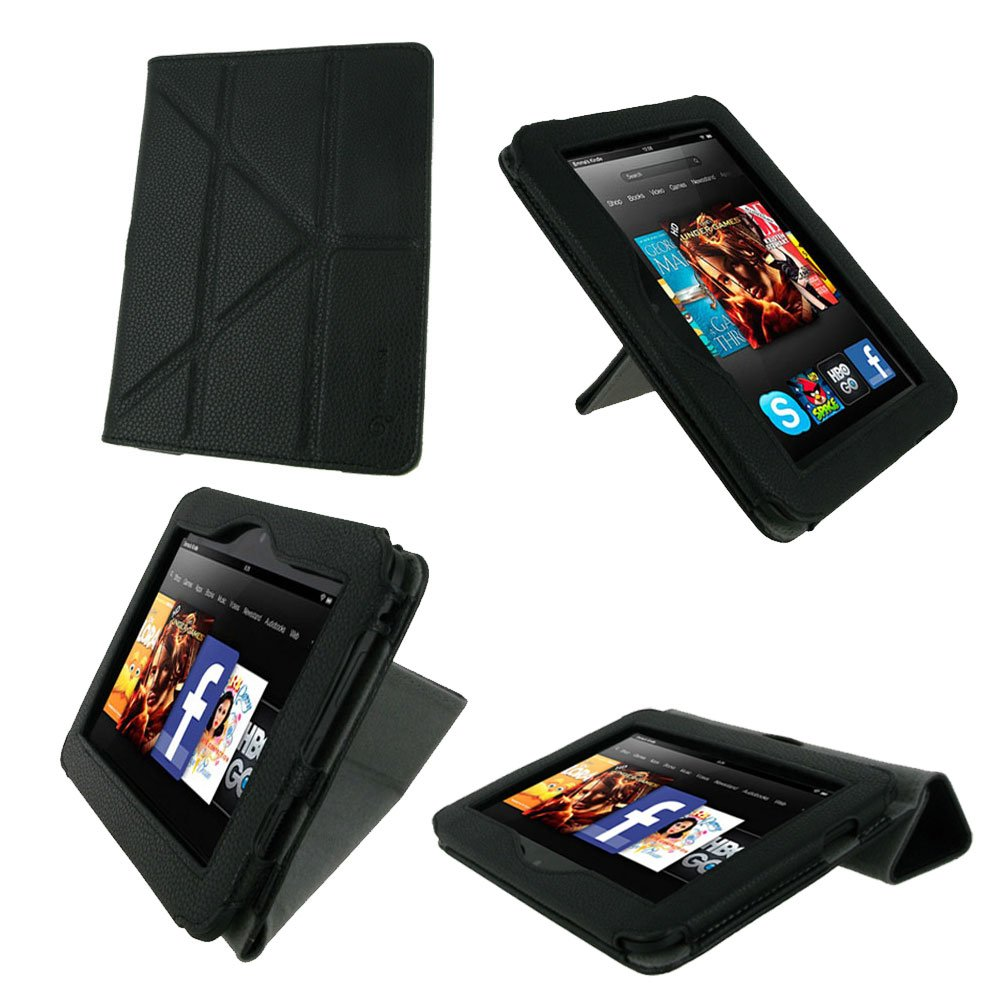 rooCASE Origami Dual-View (Black) Vegan Leather Folio Case Cover for Amazon Kindle Fire HD 7 Inch Tablet  $7.92