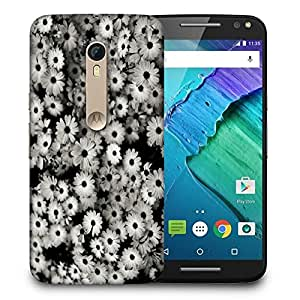 Snoogg Black And White Flowers Printed Protective Phone Back Case Cover For Motorola X Style