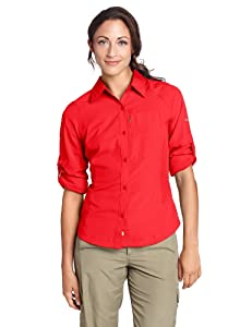 Columbia Women's Silver Ridge Long Sleeve Shirt, Red Hibiscus, Medium