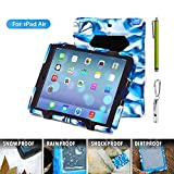ACEGUARDER Apple Ipad Air Ipad 5 Case Waterproof Rainproof Shockproof Kids Proof Case for Ipad 5 (Gifts Outdoor Carabiner + Whistle + Handwritten Touch Pen) (Aceguarder Brand) (BLACK/NAVY)