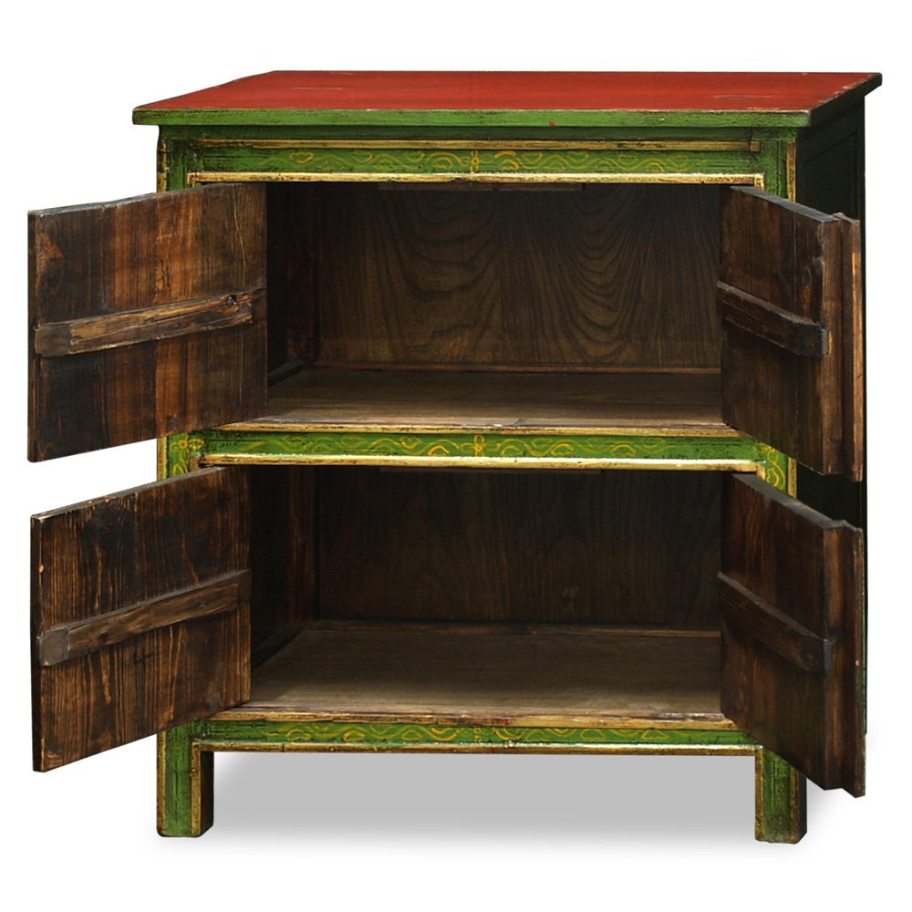 China Furniture Online Elmwood Cabinet, Vintage Hand-Painted Longevity and Floral Motif Tibetan Chest Green and Red 1