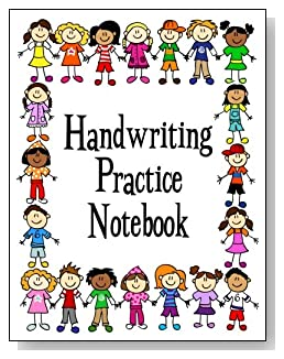 Handwriting Practice Notebook For Kids - Boys and girls of different races form a colorful border around the cover of this handwriting practice notebook for younger kids.