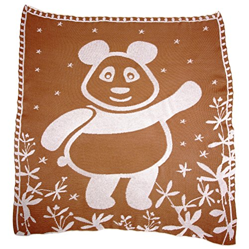 SonnenStrick 100% Organic Cotton Baby Blanket (Panda) Made in Germany Brown