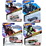 Hot Wheels Guardians Of The Galaxy Marvel Comics 4 Cars 2015 With War Machine, Gamora, Star Lord & Rocket Raccoon...