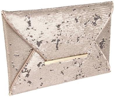 BCBG Harlow Matte Sequins Envelope SQR204EB Clutch,Misty Morning,One Size