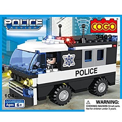 COGO Police Car Toys Scout Car Construction Building Blocks 104 Pieces - 3409 by GUANGDONG LOONGON ANIMATION & CULTURE CO., LTD.