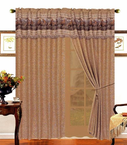 Wild Horse Jacquard Light Brown Window Curtain / Drape Set with Sheer Backing and ties