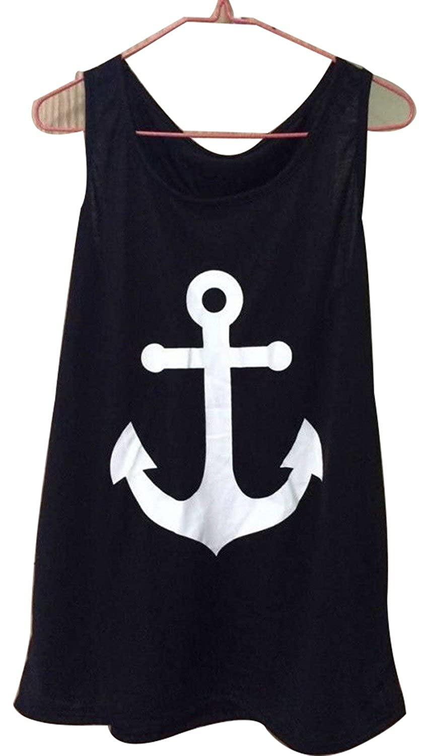 Imvation Women Girls Sleeveless Halter Backless Low O-Neck Anchor Print T-Shirt Vest