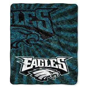 "NFL Philadelphia Eagles 50-Inch-by-60-Inch Sherpa on Sherpa Throw Blanket ""Strobe"" Design"