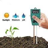 Hathdia Soil PH Meter,Soil Moisture Meter, 3-in-1 Soil Test Kit for PH/Moisture/Light Digital Soil Tester for Indoor/Outdoor Plant Care (Color: Green-2)