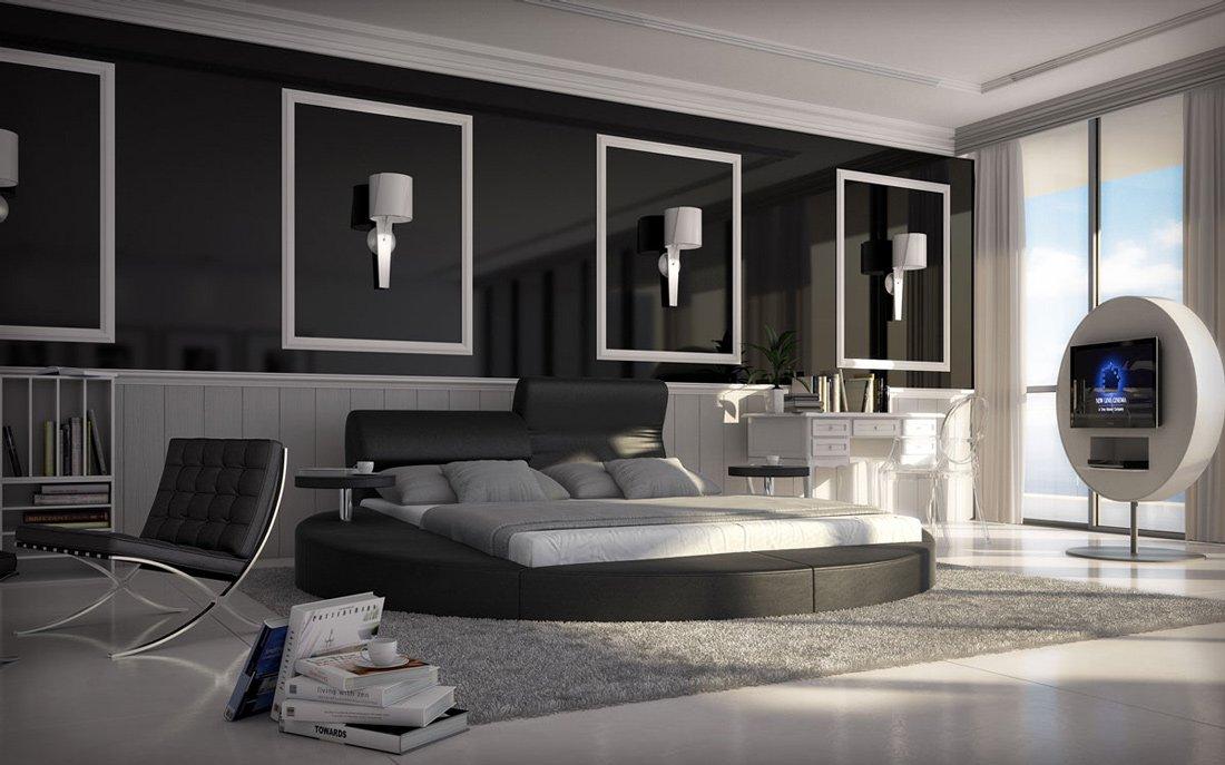 SAM® Rundbett Innocent Evory in schwarz 140 x 200 cm inklusiv 2 Nachttisch Ablagen Kopfteil aufklappbar modernes Design teilzerlegt Auslieferung durch Spedition jetzt kaufen