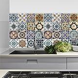 PS00012 Adesivi murali in pvc per piastrelle per bagno e cucina Stickers design - Decori retrò - 24 piastrelle formato 20x20 cm