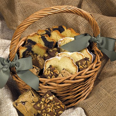 FRESH BAKED GOODNESS - GOURMET GIFT BASKET - WICKER BASKET WITH FRESH POUND CAKE, BLONDIES and BROWNIES